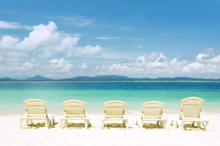 concept photo of beach with chair Stock Photo - 2806738
