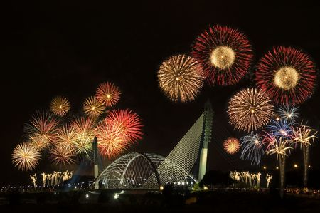 end of the day: fireworks show Stock Photo