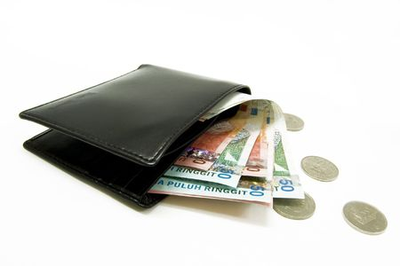 change purses: wallet with money and coins Stock Photo