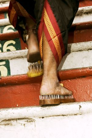 kavadi: Close up of a devotees leg at Thaipusam event celebrating Lord Murugan Stock Photo