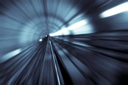 blur subway: tunnel abstract with motion blur in monotone Stock Photo