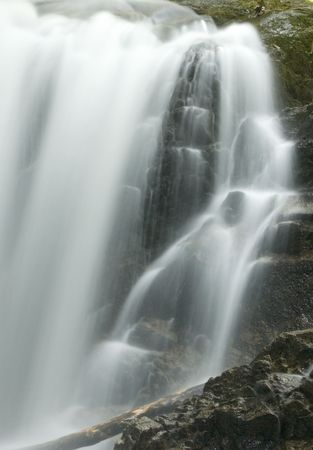 japanese garden waterfall, black and white photo