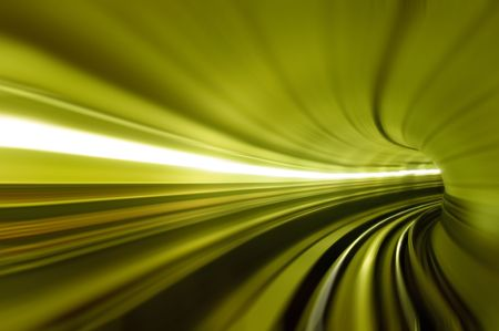 Train moving in Tunnel -Abstract View photo