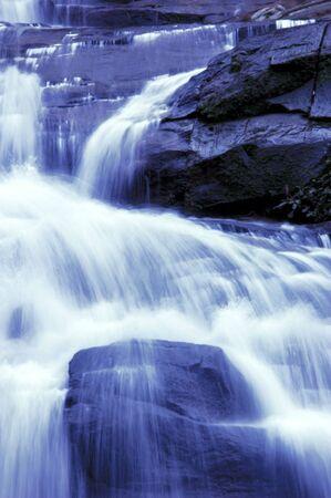 waterfall in japanese garden, monotone photo