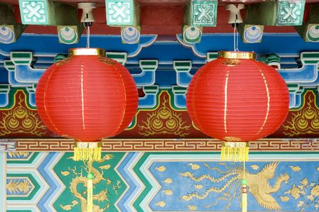 Oriental lanterns display at temple Stock Photo - 2835416