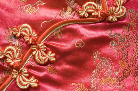 cheongsam: traditional Chinese Red knot buttons on silk dress with beautiful patterns