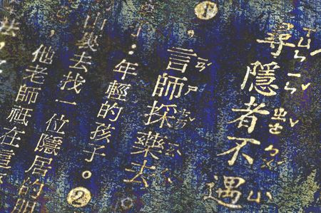 ancient chinese words on grunge background photo