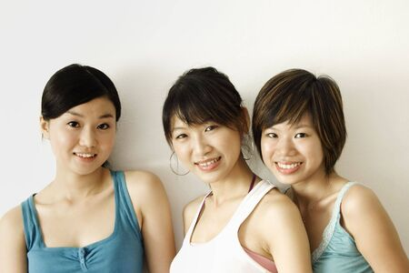 shy: three happy girls