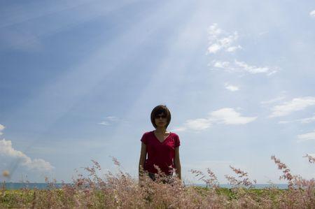 girl and sky Stock Photo - 2972946