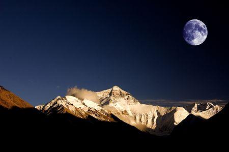 Bhutan: everest mount in sunset with moon