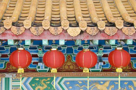 Oriental lanterns display at temple photo