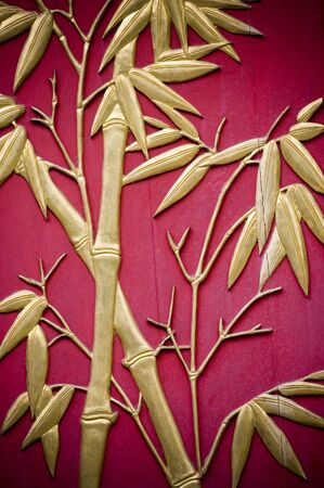 Bamboo carved on door. Symbol of longevity and friendship. Stock Photo
