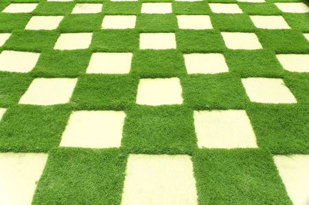 Beautiful grass tiles in a garden. photo