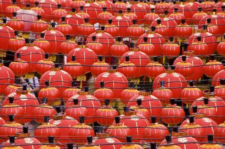 Oriental lanterns display at temple Stock Photo - 2951405
