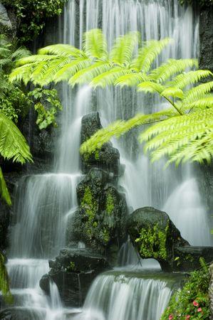 Japanese garden waterfalls, slow shutter photo