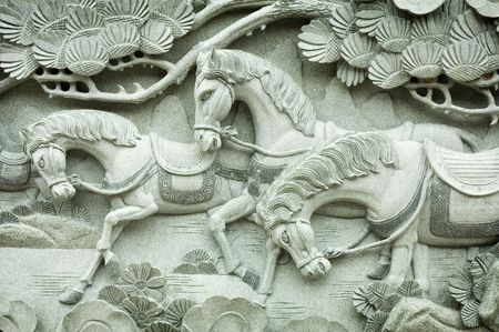 Carving on buddhism temple wall photo