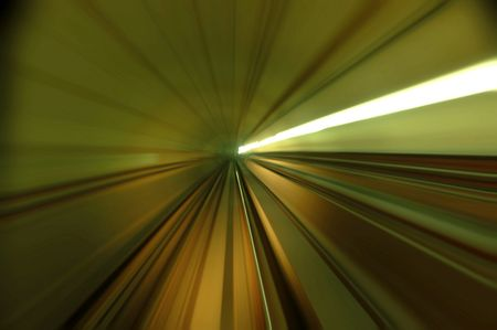 train moving fast in tunnel Stock Photo - 3194855