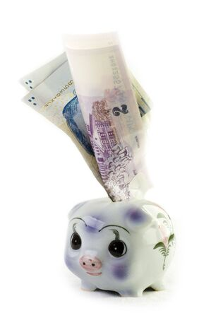 singaporean: Piggy bank with singaporean currency