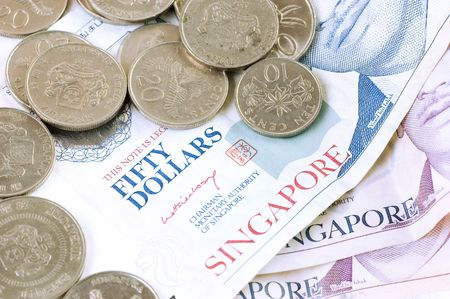 50 dollar bill: Singapore dollar notes and coins Stock Photo
