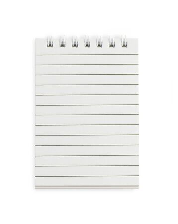 Open blank notebook on a white background photo