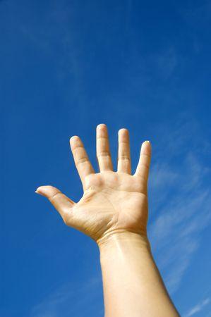 abstract concept hand towards sky Stock Photo - 3247495