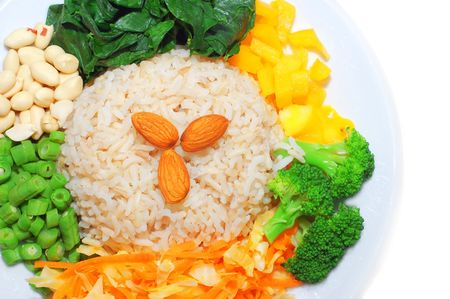 Healthy Asian dishes, brown rice and vegetables