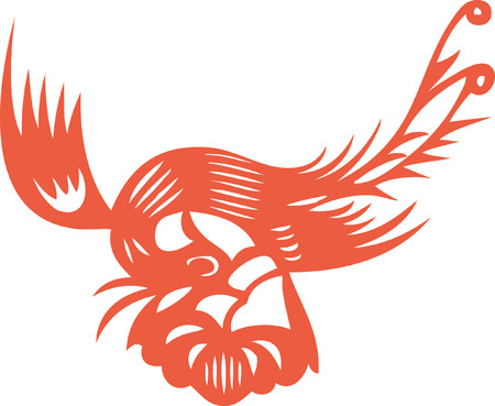 flying phoenix - chinese traditional paper cut Vector