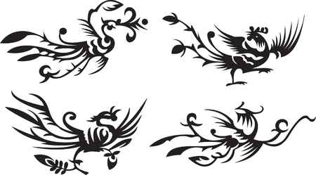 four asianchinese phoenixes Vector