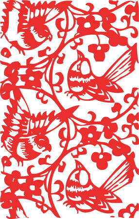 chinese flower: singing birds - chinese traditional papercut