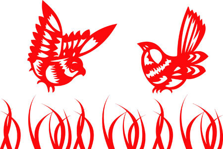 fengshui: singing birds - chinese traditional papercut
