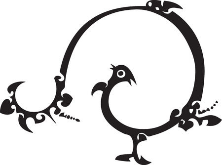 funny bird - chinese traditional paper cut Vector