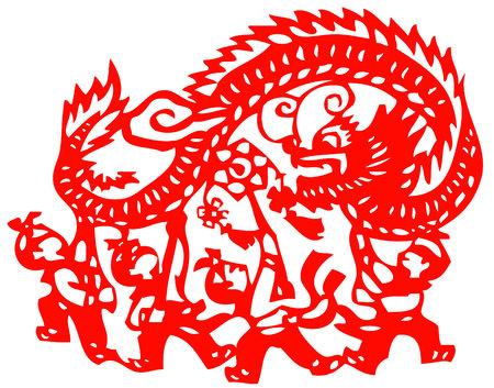 kids playing dragon - chinese traditional papercut