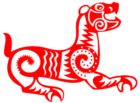 lucky tiger - chinese traditional papercut Vector