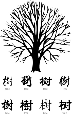 single word: tree vector with chinese word and english translation Illustration