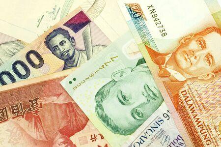 philippine: banknotes of Philippine, Singapore, Indonesia, Brunei, Korea and China