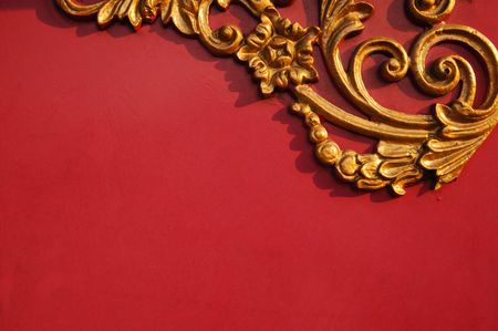 Floral pattern on red background with copy space photo