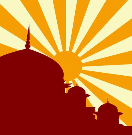 shrine: Vector illustration of mosque in sunset Illustration