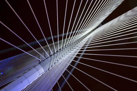 Abstract view of a suspension bridge Stock Photo