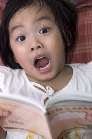 Little girl get shocked in reading photo