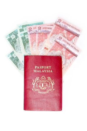 Passport malaysia with malaysian currency photo