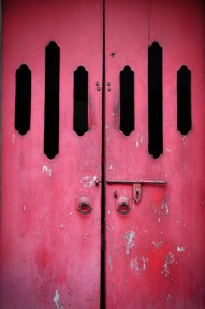 Red ancient door in Chinese Temple photo