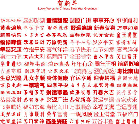 ideogram: A Lot of Lucky Words for Chinese New Year Greetings (Vector)