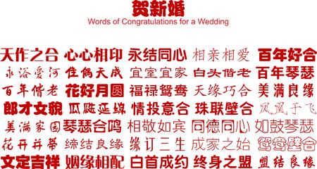 meaning: Buena chino palabras de felicitaci�n para una boda (vectores)