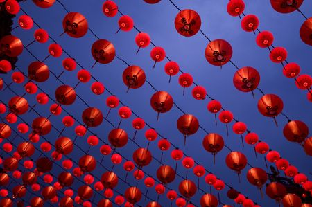 Lantern display at buddhism temple photo