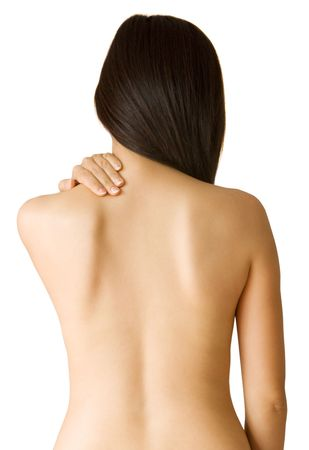 gripping hair: Back ache massage - Woman with backache from behind, body. Stock Photo