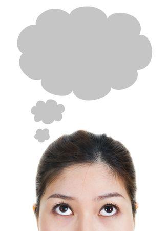Thought - młoda kobieta Po myśli Bubble