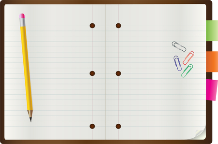 Vector of blank notebook with a pen and paper clips Vector