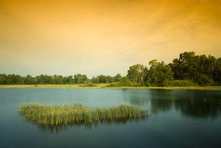 Sunseting at Paya Indah Wetlands, Malaysia photo