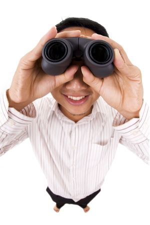 high scale magnification: Man holding a binocular isolated on white