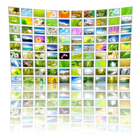 Big Panel of TV showing Nature movies. All images belongs to me. photo
